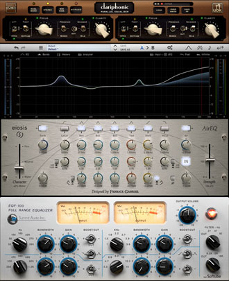 Clariphonic MKII parallel Equaliser, Eiosis Air EQ and Softube Summit EQF-100. We only use state of the art audio processors.